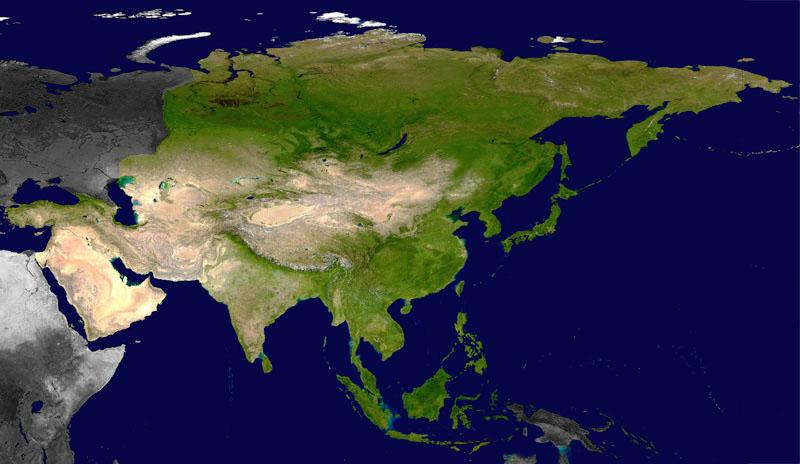 l'Asie vue du satellite