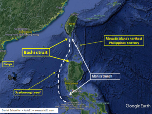 Bashi strait and potential area of settlement of a «robotic colony»