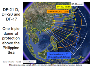 DF-21 D, DF-26 and DF-17-One triple dome of protectionabove the Philippine Sea