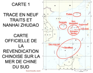 Tracé en 9 traits - carte officielle de la revendication chinoise sur la mer de Chine du Sud