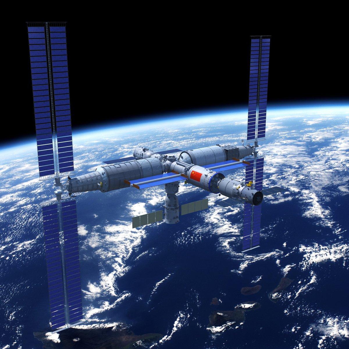 la nouvelle station chinoise qui sera exploitée une dizaine d'années sur une orbite à 350/400 km d'altitude et inclinée à 41,5°. Tianhe se trouve entre les deux gros modules laboratoires qui portent les panneaux solaires. ©DR